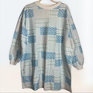 Vintage Women's Patchwork Night Gown Glacier Blue Sz XL Soft Warm Winter Fleece